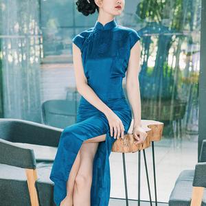 高档旗袍 奢华 优雅 复古中国风中长款真丝提花缎面手工旗