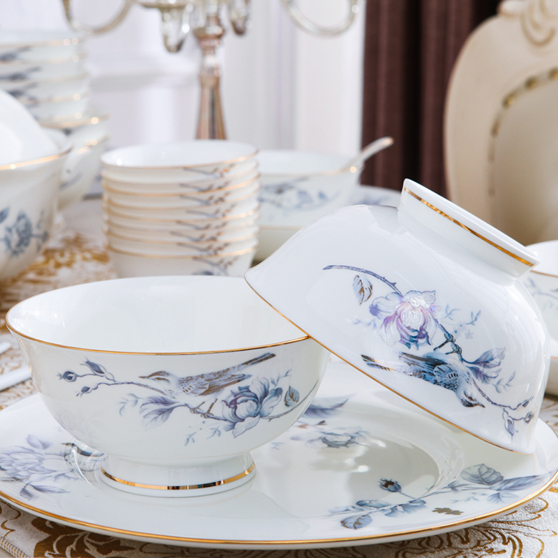 Bone china tableware, bowl and dish set Jingdezhen home simple Nordic high-end ceramic bowl and plate combination Chinese creativity