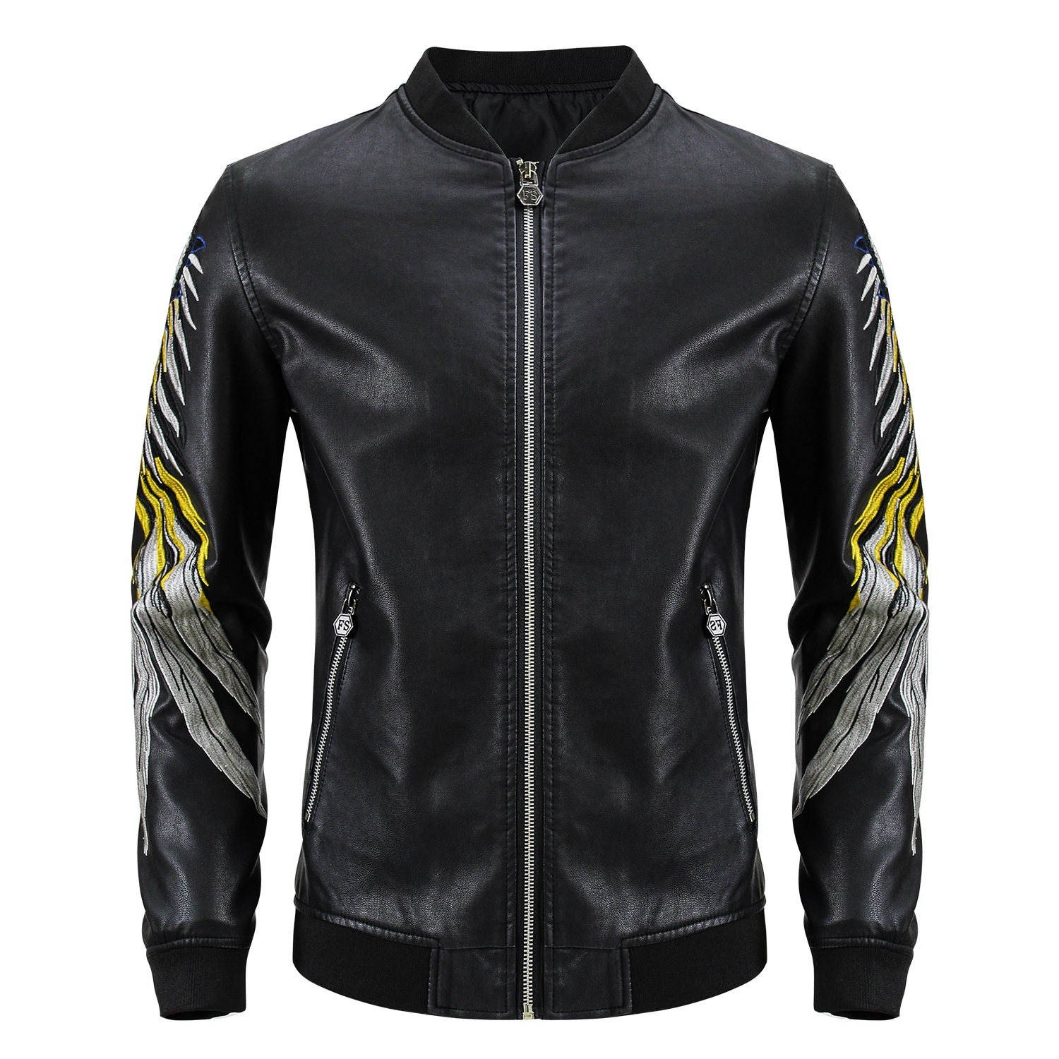 Embroidered Leather Mens Baseball Jacket autumn and winter jacket locomotive Pu kakchao air force flying suit jacket