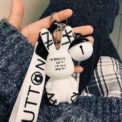 汽车钥匙扣女士韩国可爱创意个性兔子钥匙链包包挂饰汽车钥匙挂件