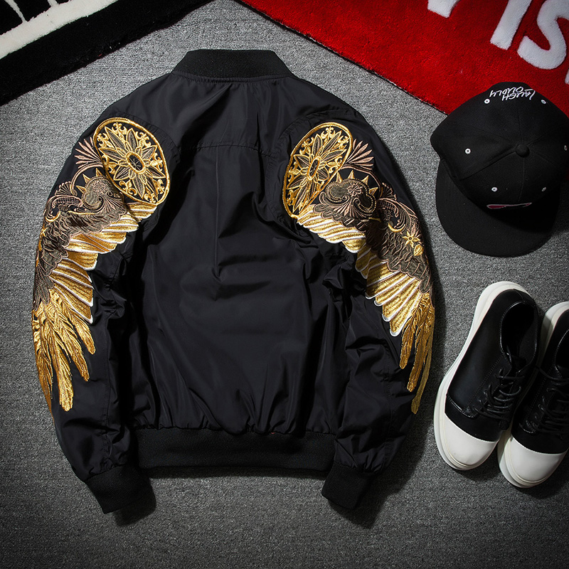 Embroidered wings pilot Jacket Womens autumn and winter Baseball Jacket cotton jacket mens and womens lovers large BF Korean loose jacket