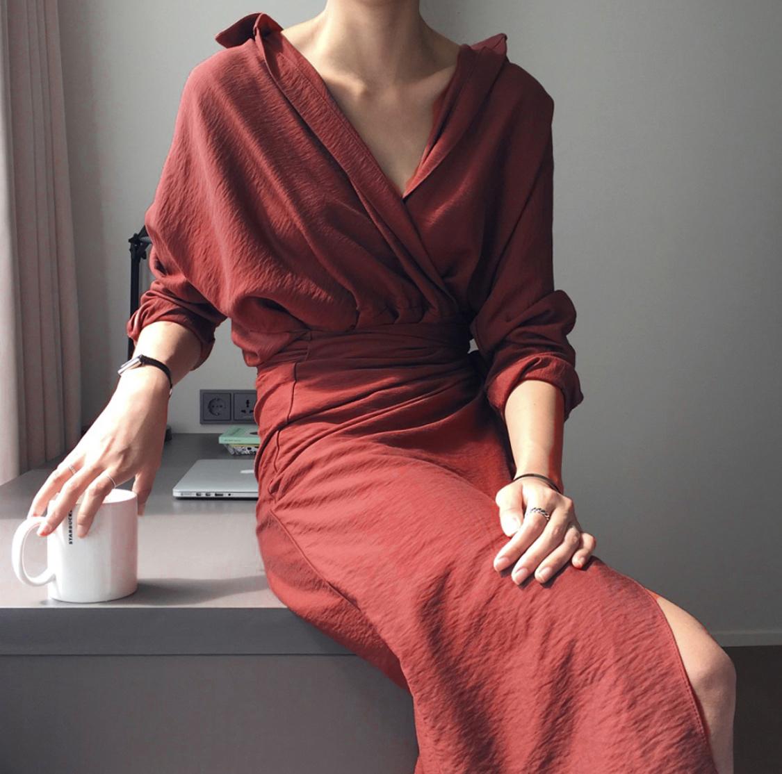 热销75件不包邮法式小众设计19新款秋显瘦慵懒风绑带围裹式棉麻衬衫v领连衣裙女