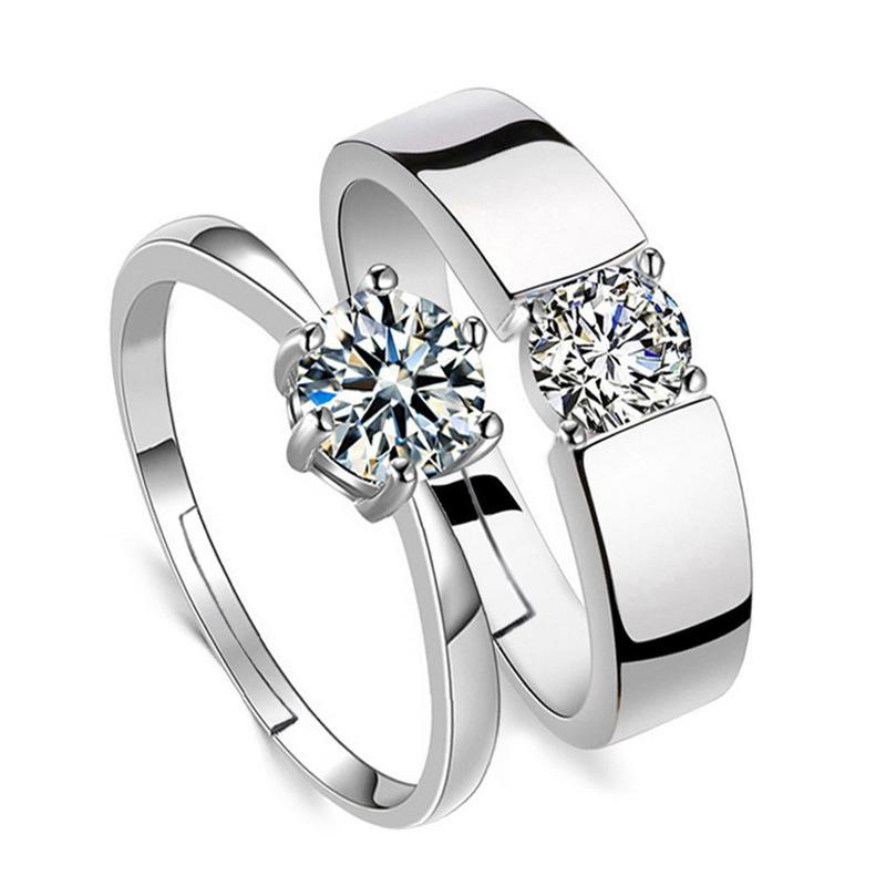 【镀白金】高质仿真对戒开口男女戒指结婚情侣创意男友情人节礼物