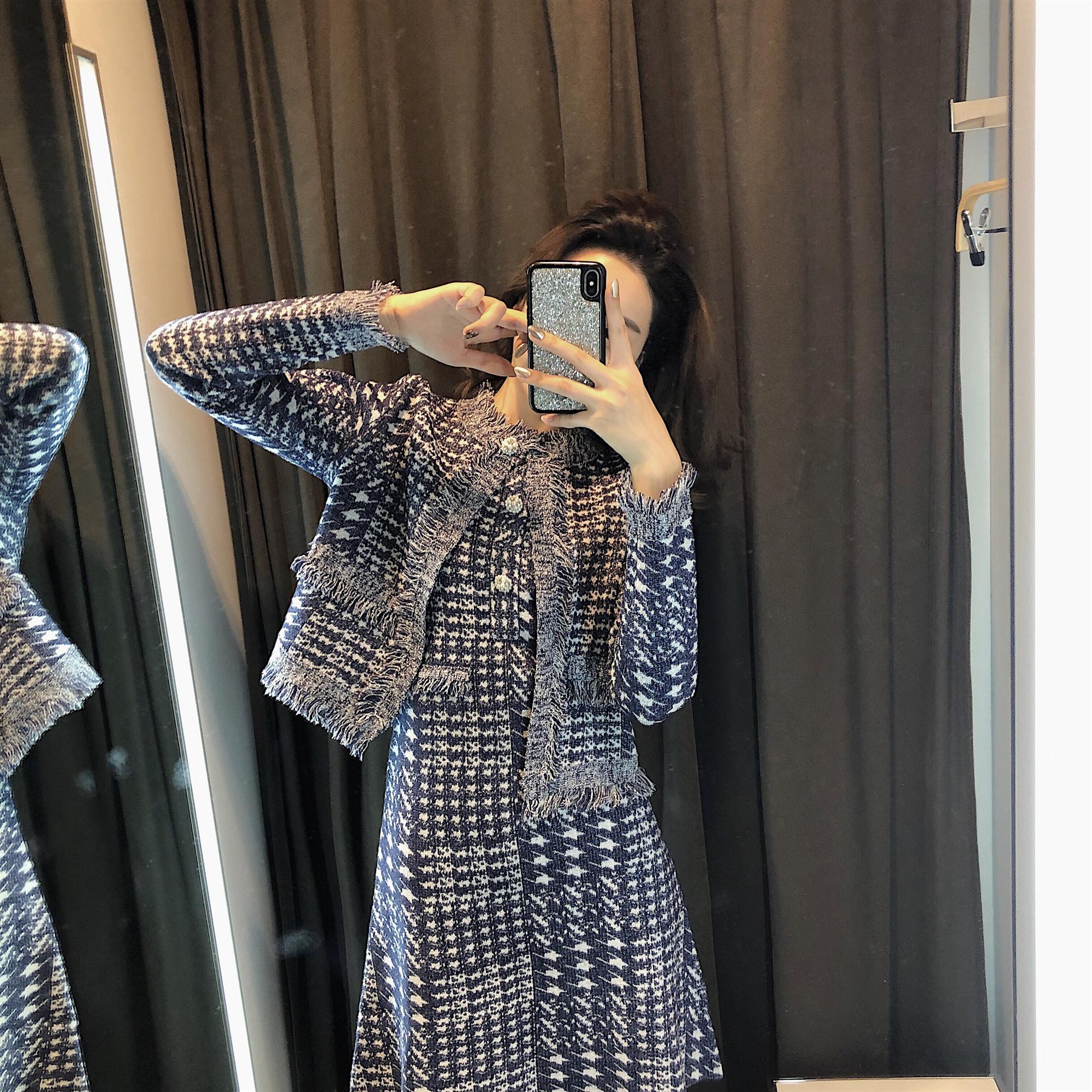 满168元可用10元优惠券网红两件套装2019秋季显瘦赫本风小香风套装气质女神范套装裙