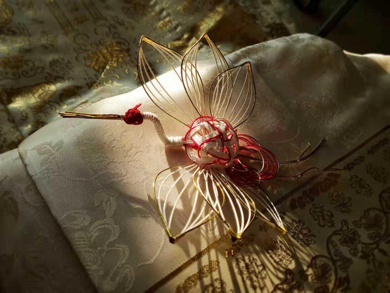 Mayfly small dwelling crane hairpin cheongsam Hanfu matching accessories crane headdress hairpin Brooch