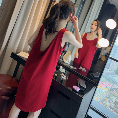 Sexy vest halter nightdress female summer modal cotton girl sleeveless spring and autumn mid-length pajamas women suspenders thin section