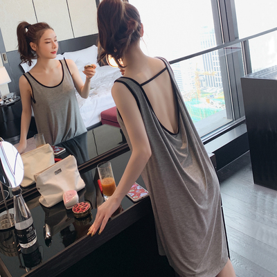 Modal sleeveless backless sexy nightdress summer thin suspenders temptation beauty back net red vest pajamas women spring and autumn