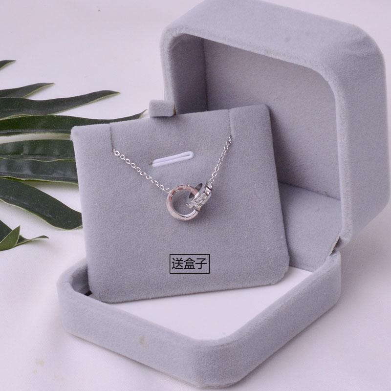 925纯银项链女双环镶钻转运锁骨链小众设计百搭锆石吊坠礼物女友券后29.90元