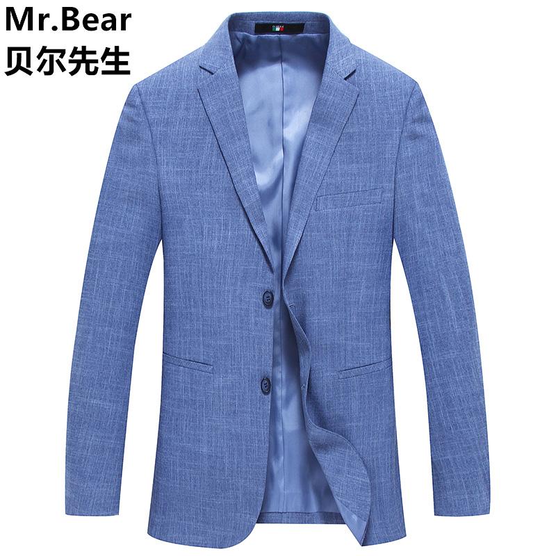 Spring casual suit mens thin blue small suit mens Korean slim one piece top trend versatile coat