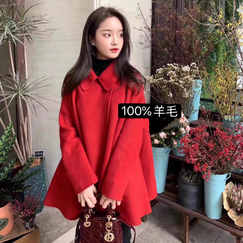 反季特价双面羊绒大衣女新款中长款小个子双面羊毛斗篷气质外套