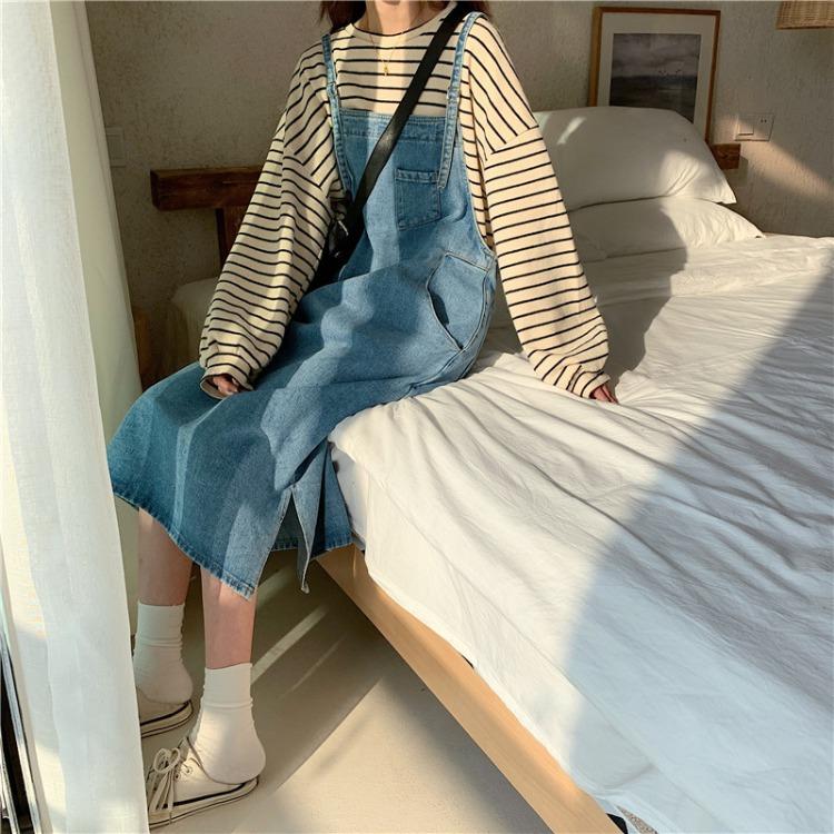 韩国早春百搭新款ins复古宽松口袋牛仔背带裙吊带连衣裙