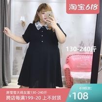 肉嘟嘟的胖莹莹大码女装夏装胖妞韩版复古刺绣甜美小黑裙连衣裙
