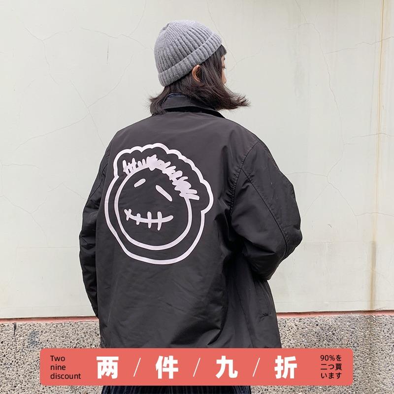 潮叁WOLA秋冬日系复古工装羊羔绒教练夹克男女情侣薄款国潮牌外套