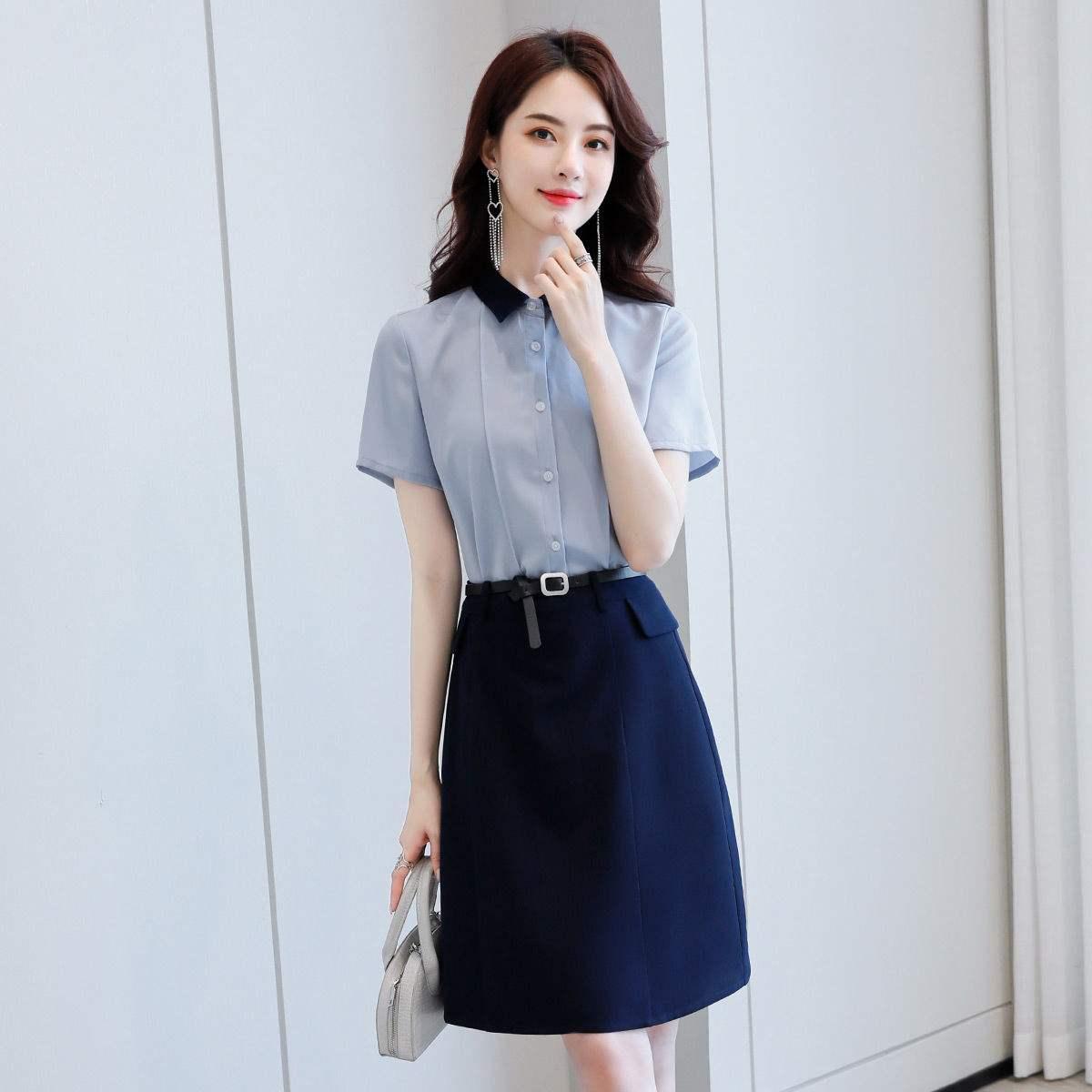 尚静 套装裙2020夏季新款短袖衬衫+气质时尚通勤两件套套装裙子