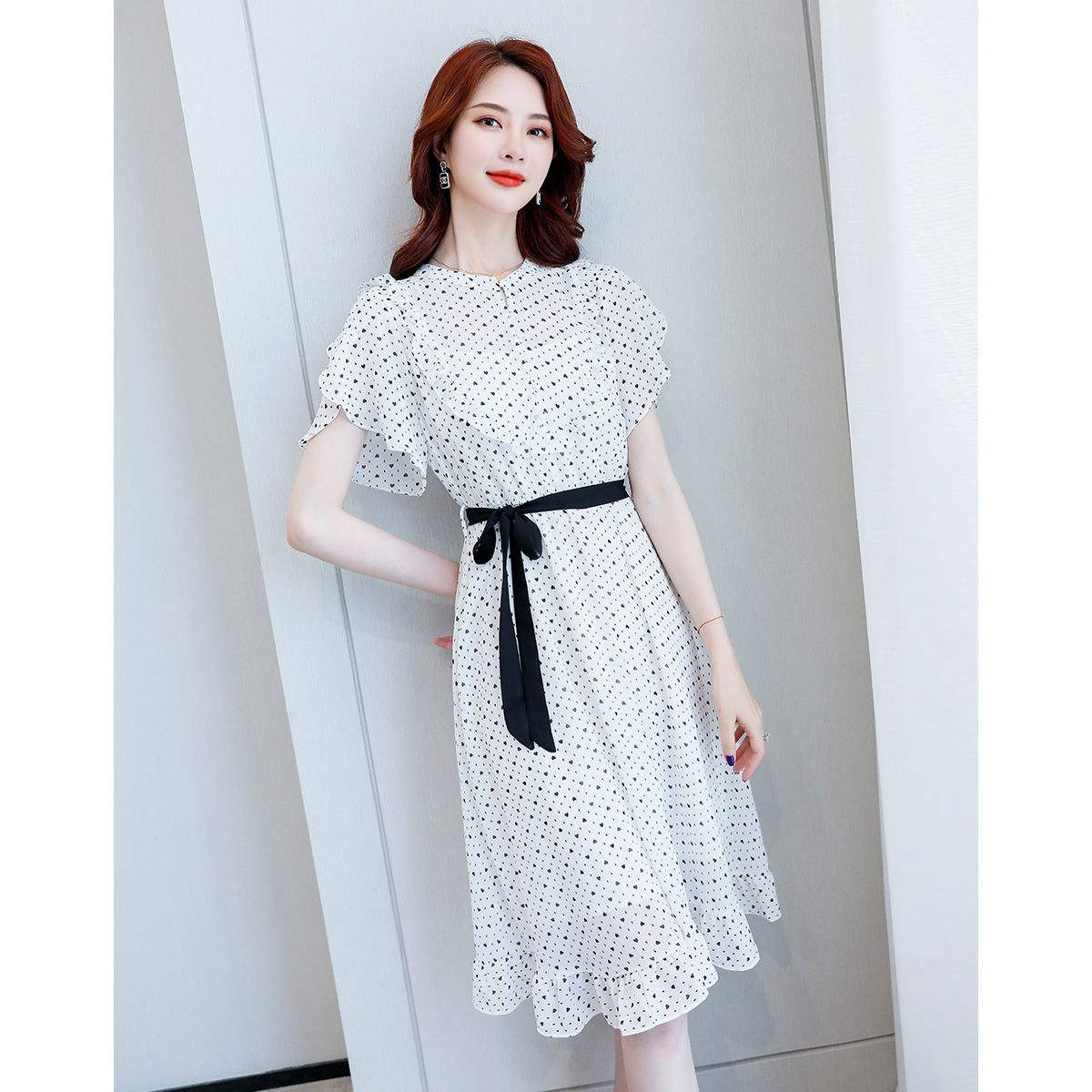 尚静 2020夏季新款连衣裙女小波点气质雪纺连衣裙套装连衣裙