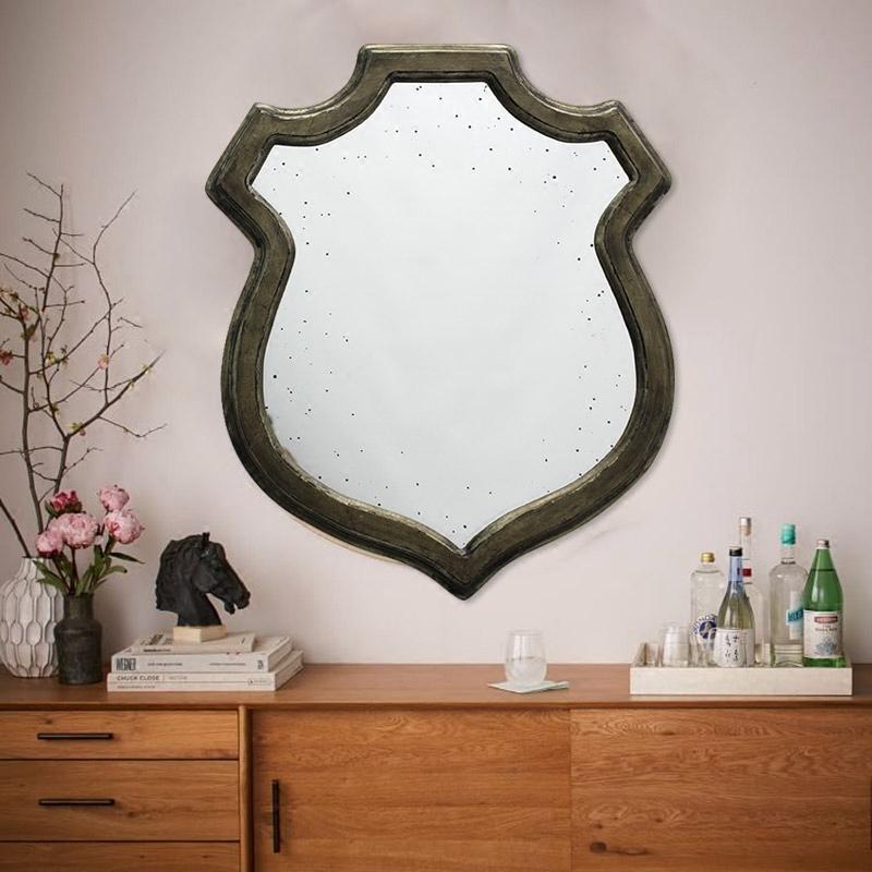American Rural retro dressing mirror decorative mirror creative shield bathroom mirror Rococo style
