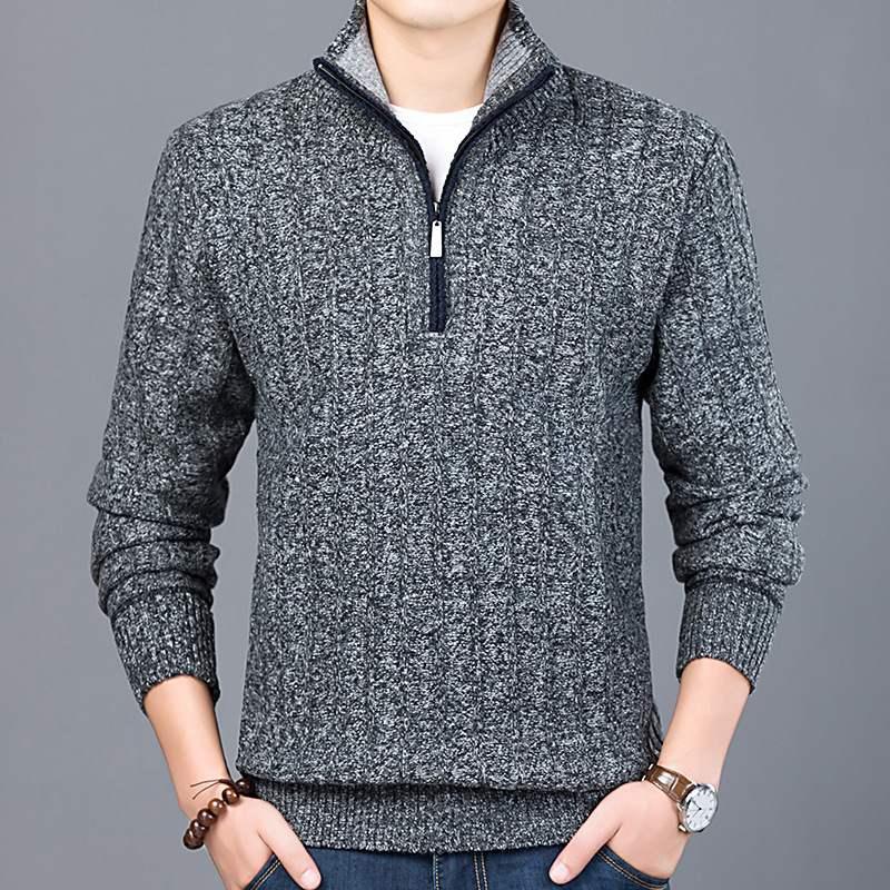 鄂尔多斯市2020新款秋冬男式韩版青年长袖毛衣加厚简约半高领时尚