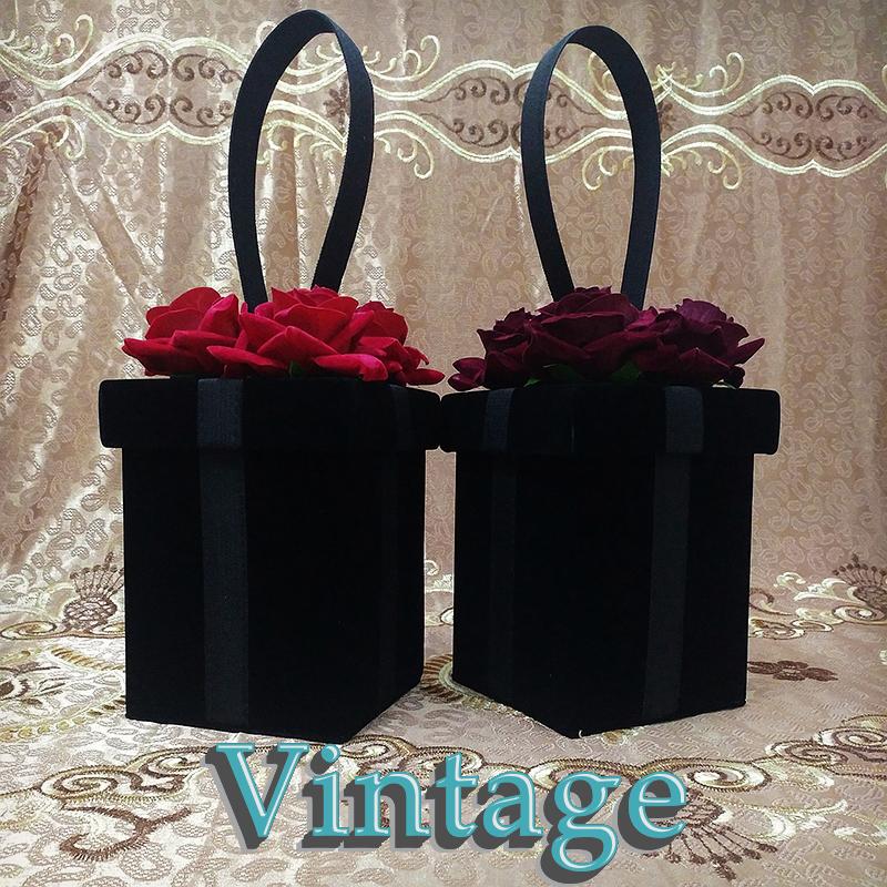 New style small bag retro bag red flower womens small square bag handbag exquisite personality velvet bag styling Bag Satchel
