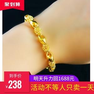 正品24K黄金手链男女款转运珠手链女不掉色男金手链玲珑手镯黄金