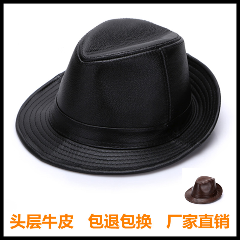 Haining leather top leather hat autumn and winter mens casual jazz hat Shanghai beach gentleman hat