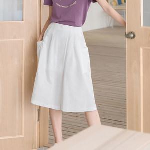 哈果超人夏天闊腿褲裙褲女士新款2018高腰甩裙褲七分褲白色休閑褲