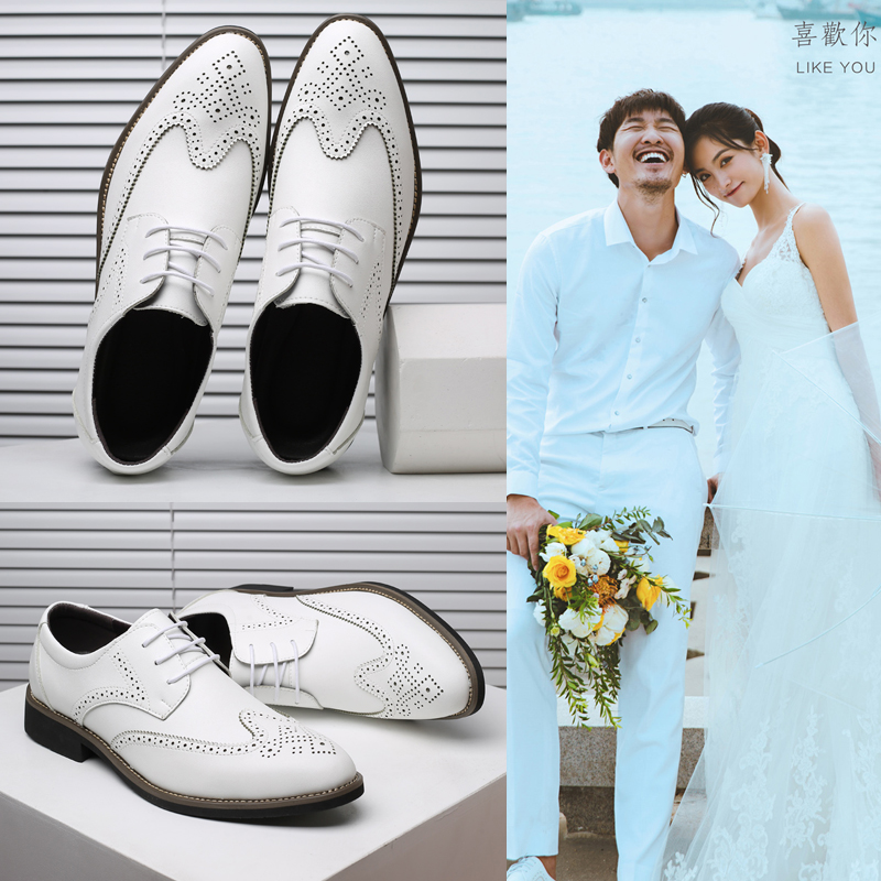 2021 bridegrooms wedding photo gift shoes Korean British business casual shoes mens white suit best man