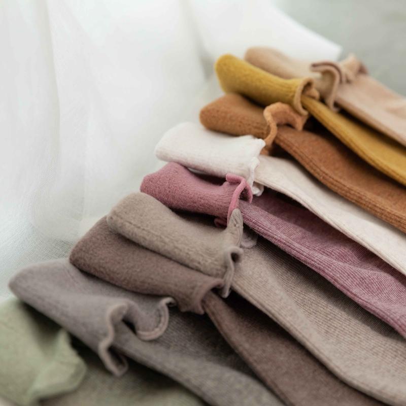 秋冬新品薄绒堆堆袜 加绒荷叶边可爱雪地袜 女士保暖袜中筒袜子女