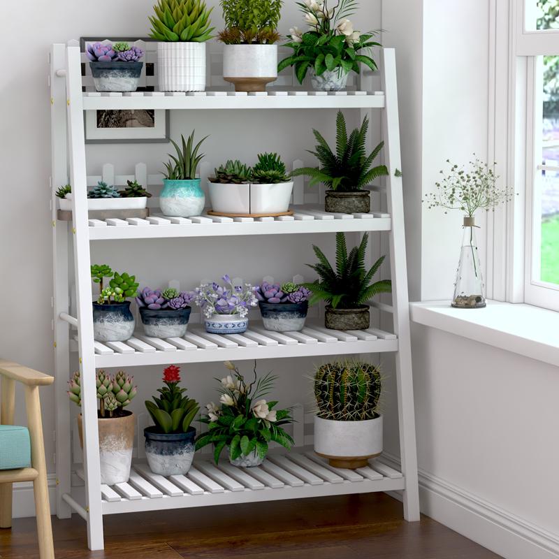 新款阳台铁艺实木质花架子客厅白色绿萝吊兰架特价落地省空间置物