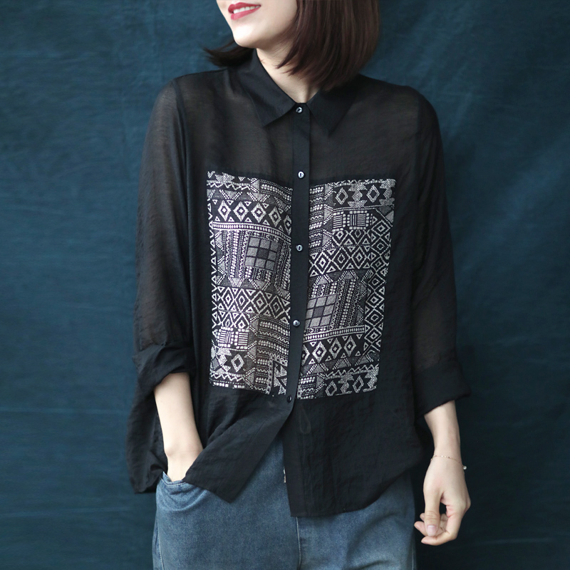 Xiaoshuo art leisure, loose and thin geometric pattern, black shirt, womens long sleeve, thin style, new spring 2020