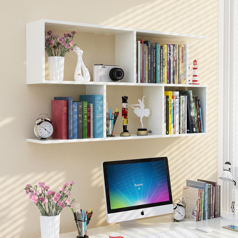 创意墙上免打孔卧室背景墙书架