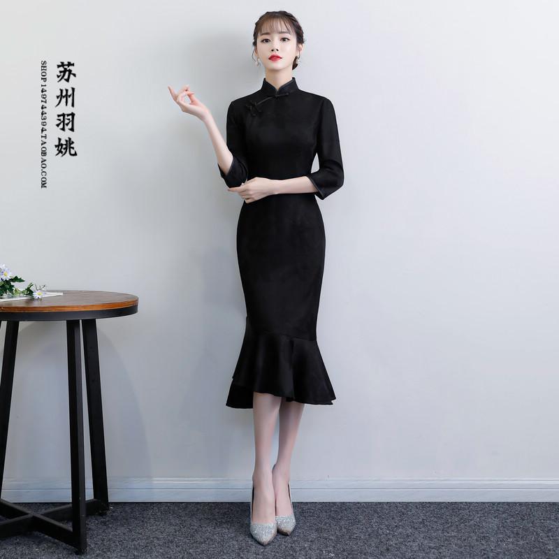 冬款少女黑色蕾丝加绒复古时尚改良鱼尾旗袍连衣裙年会晚礼服日常