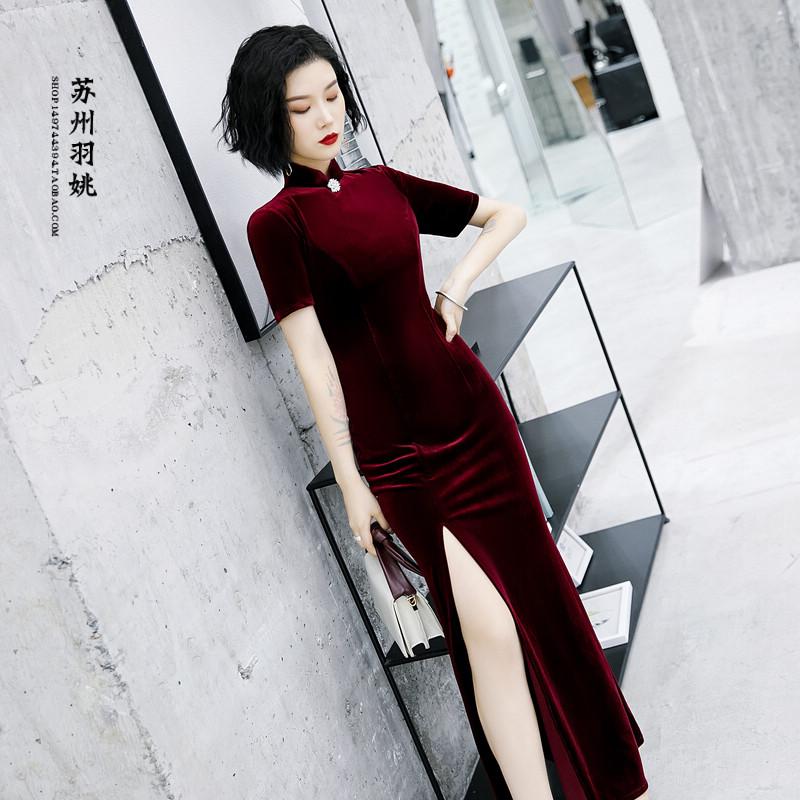 少女中式纯色金丝绒大气改良日常长款旗袍连衣裙走秀年会礼仪礼服