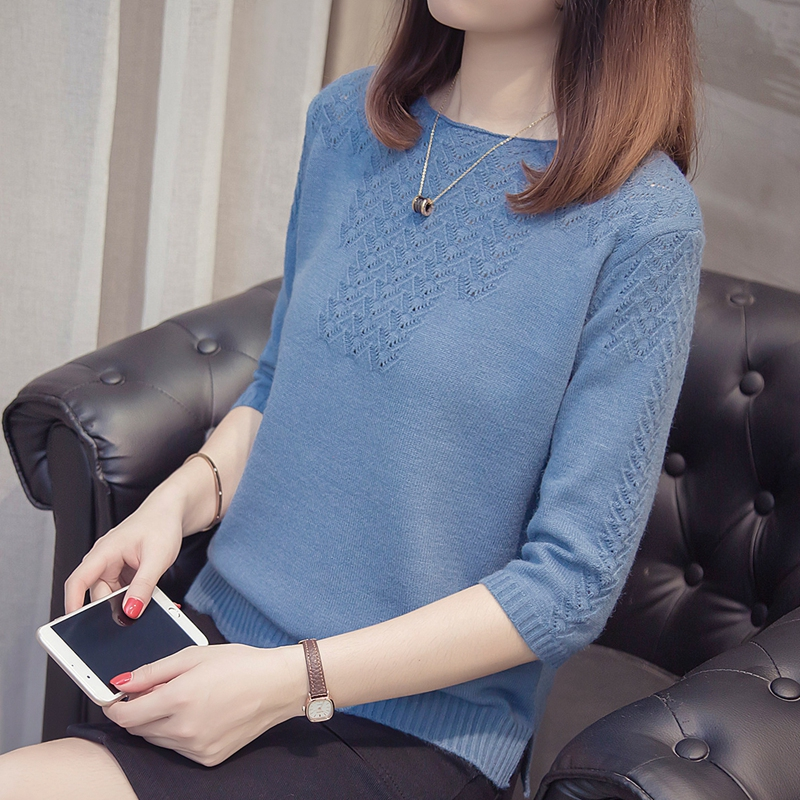 秋季新款宽松慵懒风蓝色镂空七分袖针织T恤女纯色前短后长打底衫