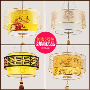 新中式仿古圆形茶楼餐厅阳台火锅店包间过道走廊中国风羊皮小吊灯