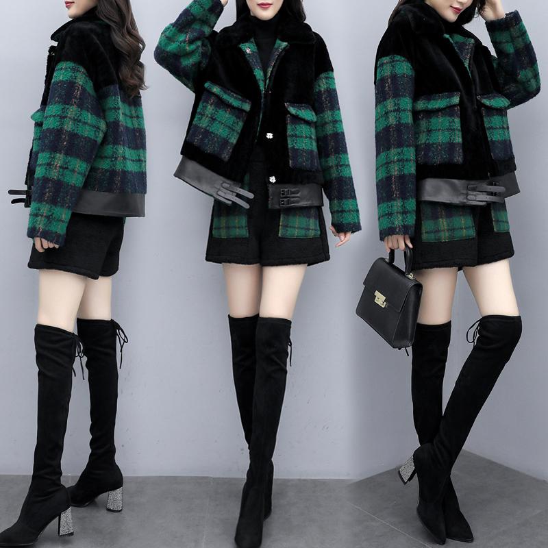 2020新款女装冬季韩版毛呢拼接短裤