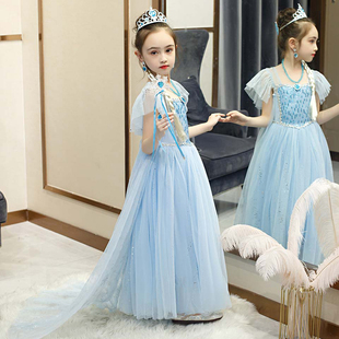 爱莎公主裙女童夏装 超仙纱裙儿童连衣裙冰雪奇缘2新艾莎礼服裙子