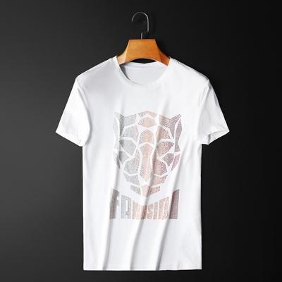 夏季新款双丝光烫钻男士短袖T恤圆领半袖小衫潮 D307 8817 P70 白