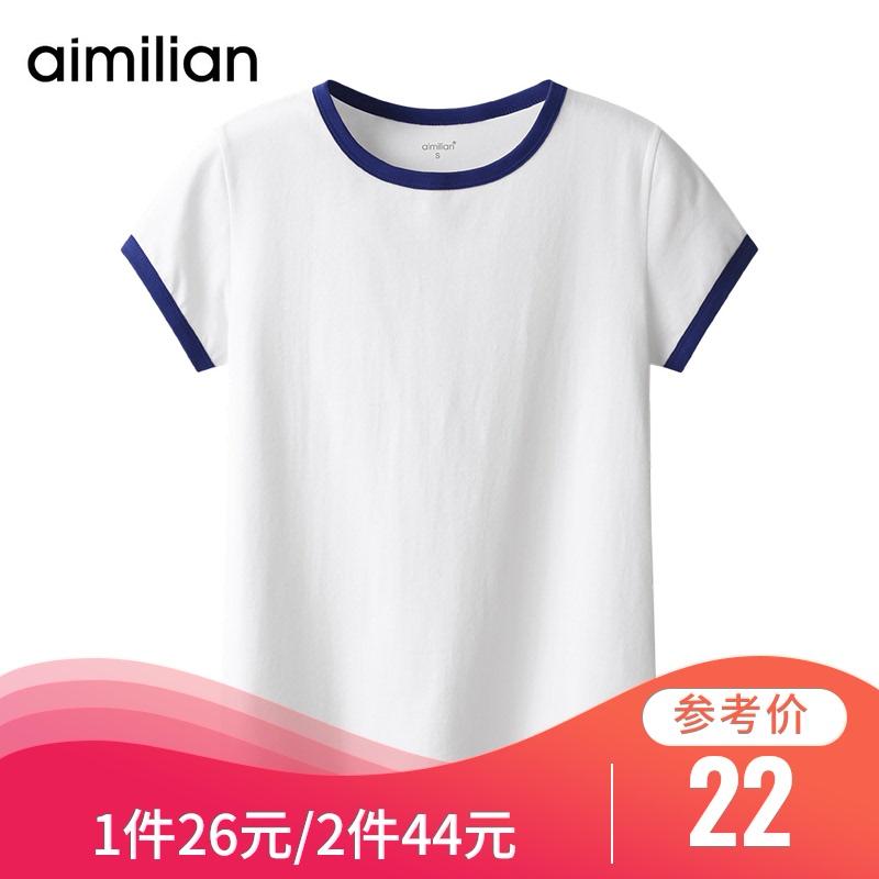 艾米恋纯棉短袖白色t恤女装夏季20...