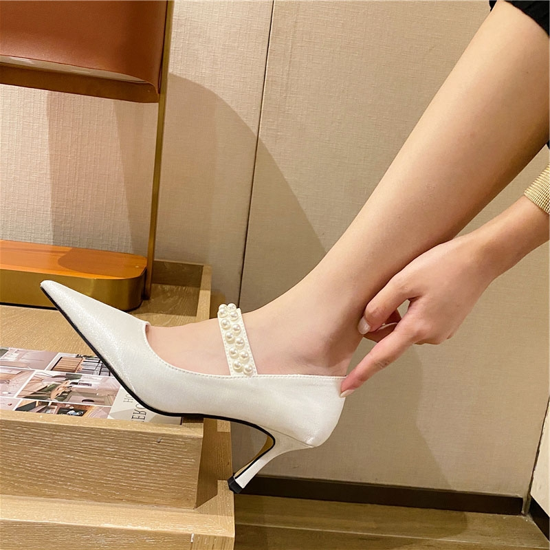 Lazada women high autumn new pointed silk high heel single shoes slim heel pearl sexy wedding shoes