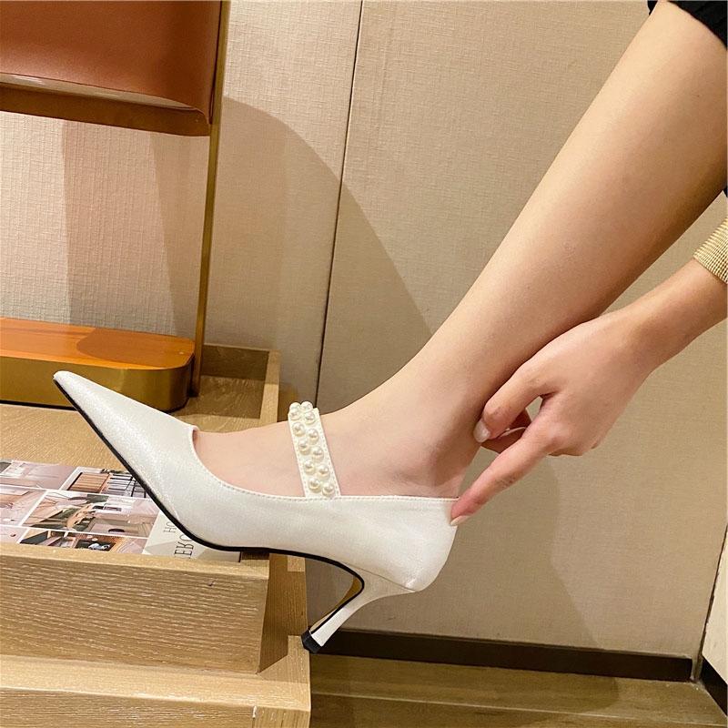 Lazada Women High 秋季新款尖头丝绸高跟单鞋细跟珍珠性感婚鞋女