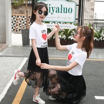 亲子装夏装2018新款潮母女装连衣裙夏季韩版短袖t恤洋气套装裙子