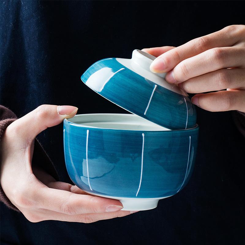 日式陶瓷带盖汤盅创意煲汤小炖盅家用隔水蒸蛋炖罐炖燕窝盅餐具