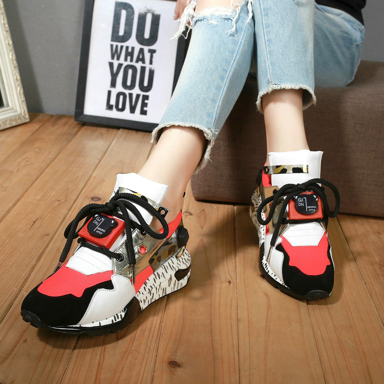 2021春夏新款韩版拼色休闲运动女鞋真皮坡跟厚底时尚百搭旅游单鞋