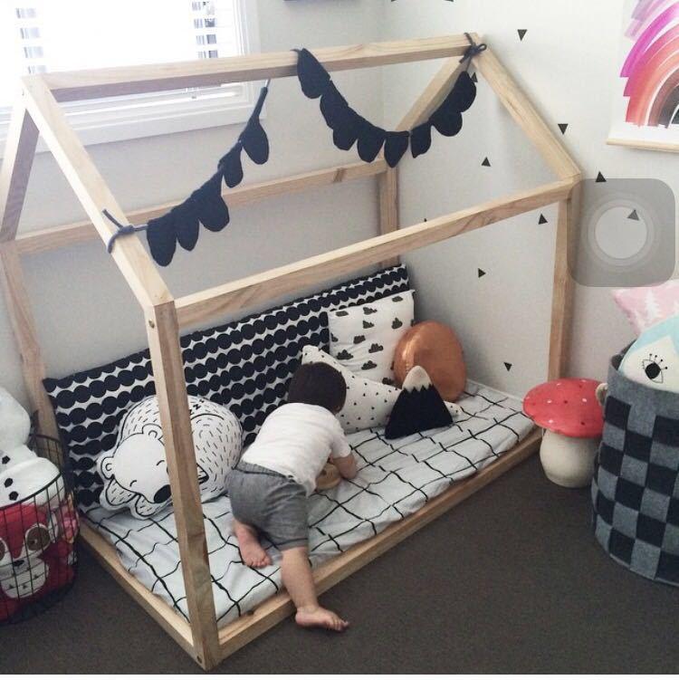 北欧ins儿童木屋架过家家游戏屋子实木儿童床益智玩具摄影道具
