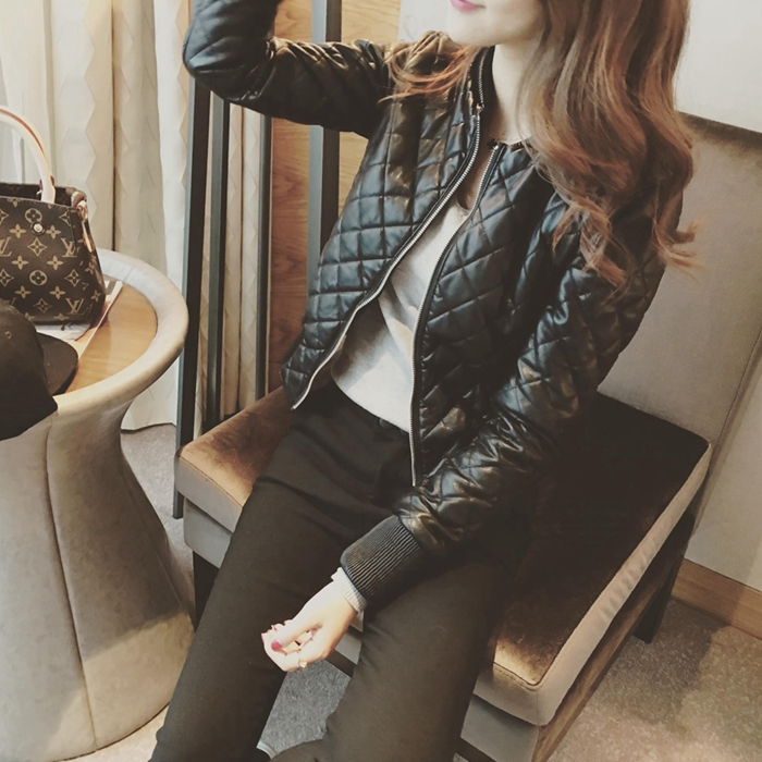 Small leather coat womens new slim clip cotton thickened short PU leather jacket high waist lady