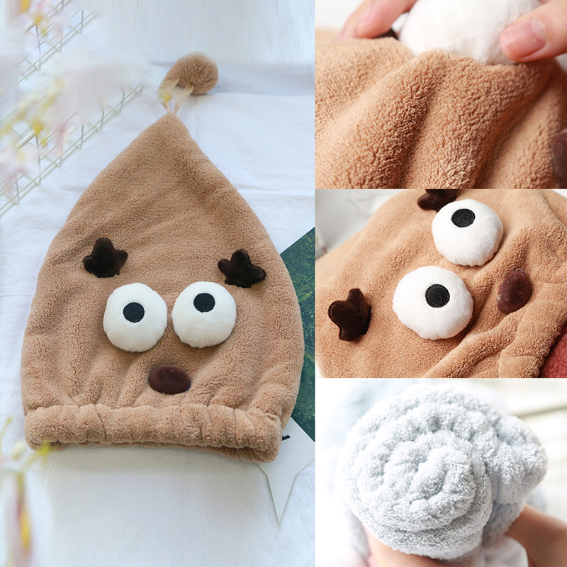 Miansen hair cap coral fleece quick water absorbing dry towel lovely cartoon farewell to dry show