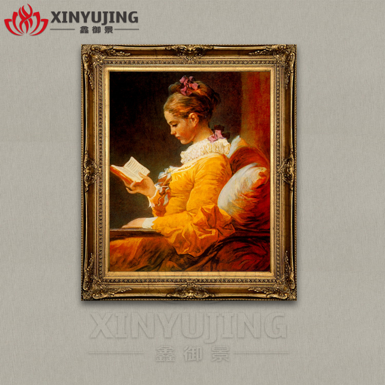 European style pure hand painted home decor living room bedroom porch hand framed painting famous oil painting reading girl