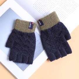 男士半指手套针织毛线五指分指手套冬季加厚保暖写字露指手袜韩版