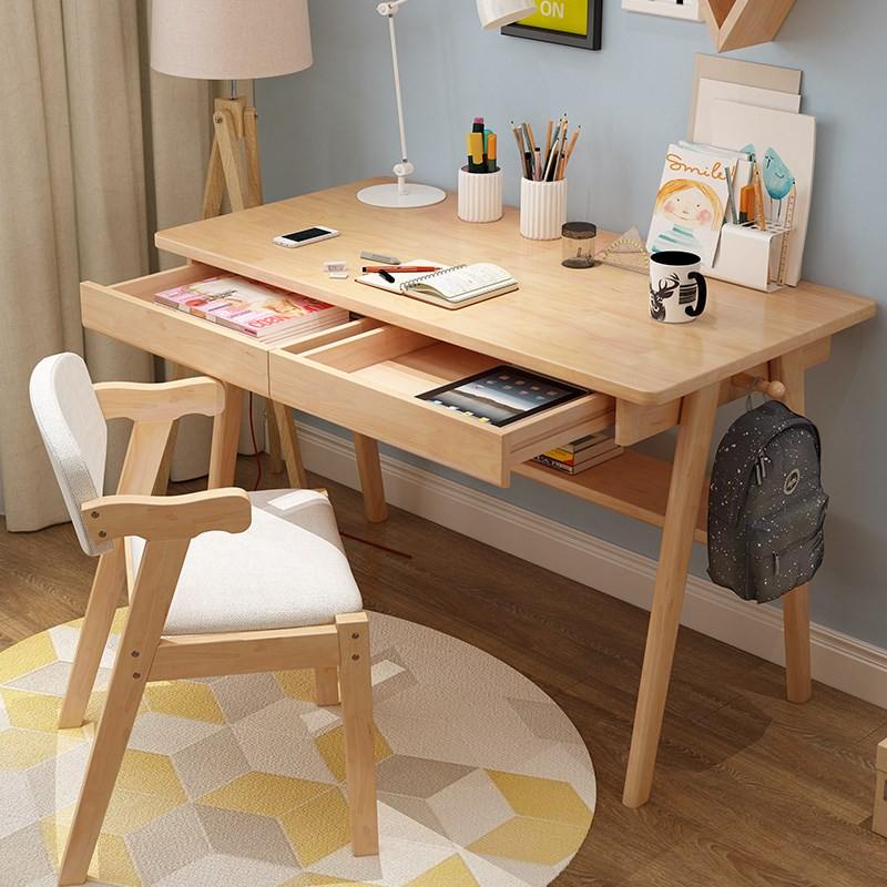 新款实木书桌简约家用台式电脑桌卧室学生写字台现代办公桌学五折促销