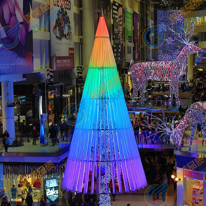 10米LED彩色灯光大型圣诞树 圣诞节日场景布置室内发光框架圣诞树,可领取元淘宝优惠券
